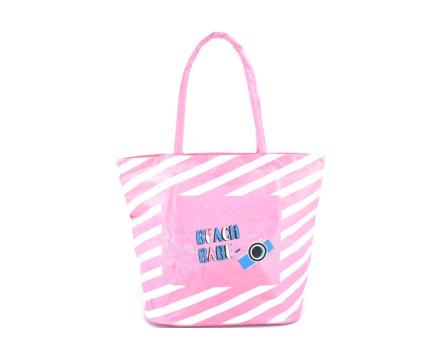 Plážová taška pruhovaná s potiskem