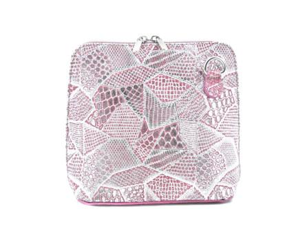 Dámská malá  kožená kabelka  Arteddy - růžová/stříbrná