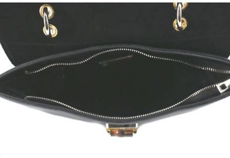 Dámská luxusní kožená kabelka s klopnou Arteddy - černá/vínová