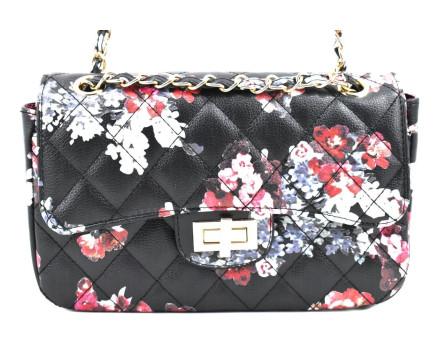 Dámská / dívčí moderní květovaná kabelka s klopnou