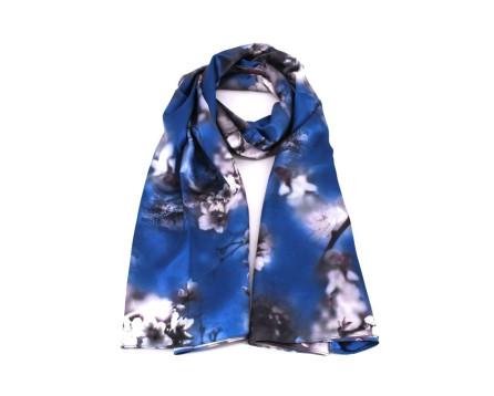 Moderní oboustranný dámský šátek - modrá