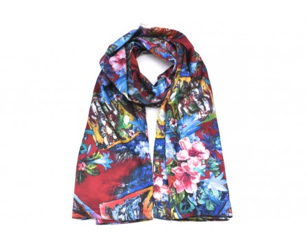 Moderní oboustranný dámský šátek - vínová