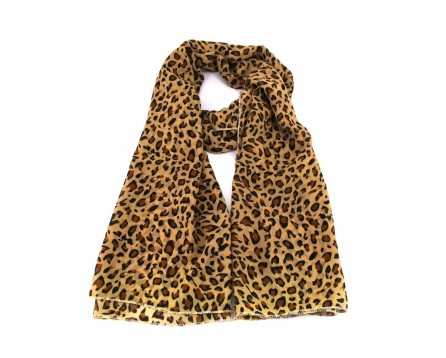 Dámský šátek  s tigrovaným vzorem - béžová/hnědá