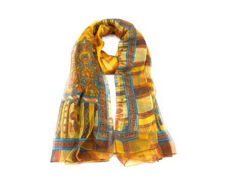 Moderní hedvábný dámský šátek - hořčicová