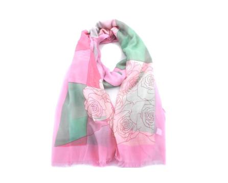 Dámský šátek s potiskem - růžová