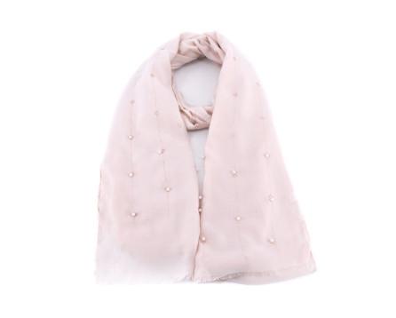 Moderní dámský šátek zdobený perličkam i- světle béžová