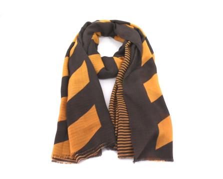 Dámský šátek s pruhy - hnědá/hořčicová