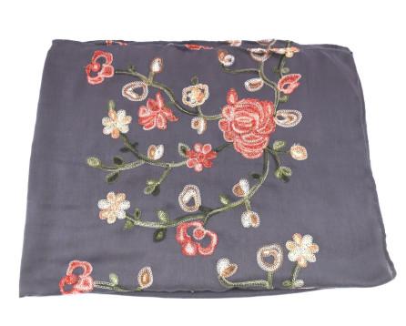 Dámský šátek  s květovaným vzorem - tmavě šedá