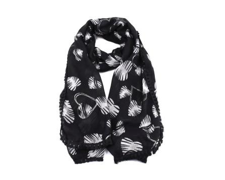 Dámský šátek s potiskem srdíčka - černá