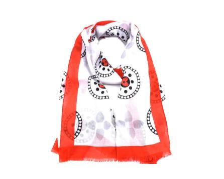 Dámský šátek s potiskem - červená/bílá