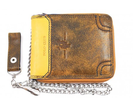 Kožená peněženka Harvey Miller - žlutá/hnědá