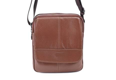 Pánská kožená taška přes rameno - hnědá