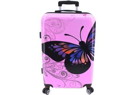 Cestovní skořepina kufr na čtyřech kolečkách Arteddy - motýl (M) 70l