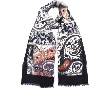 Šátek s potiskem - šedá