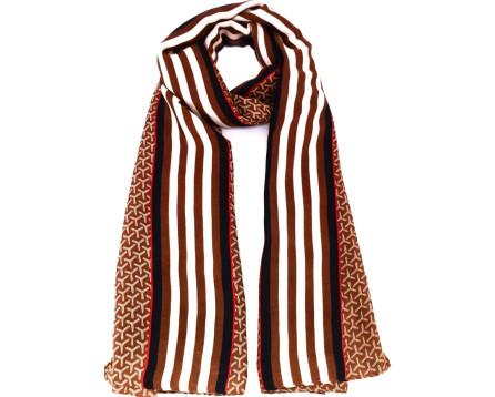 Vzorovaný šátek - hnědá