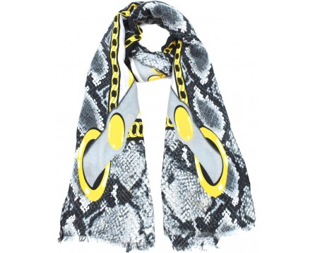 Moderní vzorovaný šátek - šedá