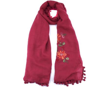 Šátek  s květovaným vzorem - vínová