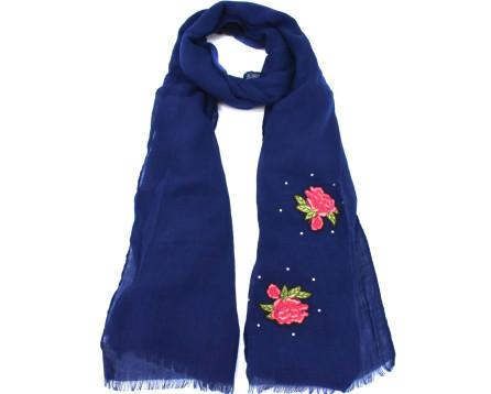 Šátek  s květovaným vzorem - tmavě modrá