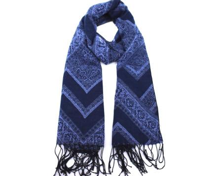 Dámská vzorovaná šála - tmavě modrá