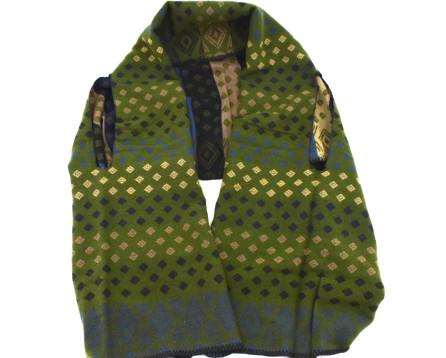 Moderní oboustranná šála/pončo -- tmavě zelená