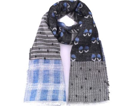 Dámská vzorovaná šála - šedá/modrá