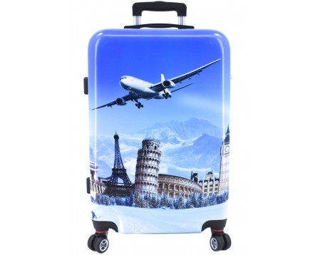 Cestovní  palubní kufr skořepinový na čtyřech kolečkách Arteddy - Letadlo (S) 40l