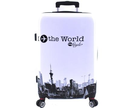 Cestovní  palubní kufr skořepinový na čtyřech kolečkách Arteddy - In the World (S) 40l