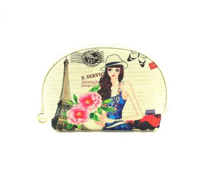 Dámská/dívčí kosmetická etue s potiskem (XL) - krémová