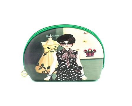 Dámská/dívčí kosmetická etue s potiskem (XL) - zelená
