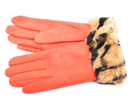 Elegantní zateplené dámské rukavice ozdobené kožešinou