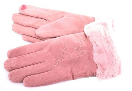 Zateplené dámské/dívčí rukavice ozdobené kožešinou