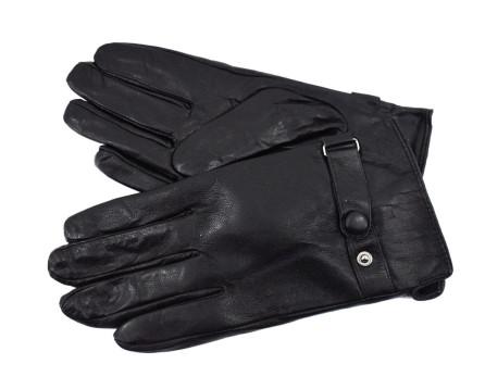 Pánské zateplené kožené rukavice - černá