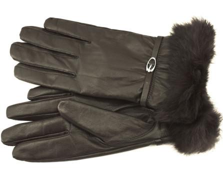 Dámské kožené rukavice Every  ozdobené kožešinou
