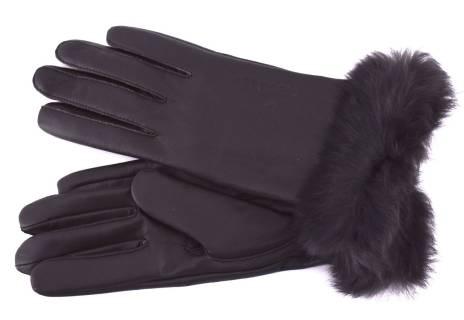 Dámské kožené rukavice B.Cavalli ozdobené kožešinou