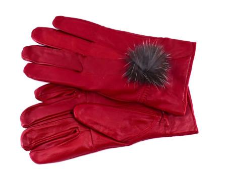 Dámské kožené rukavice ozdobené kožešinou