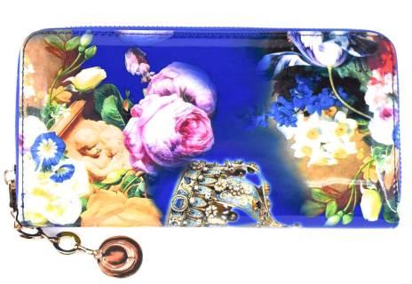 Dámská/dívčí lakovaná peněženka květovaná