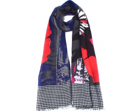Dámský šátek  s květovaným vzorem - modrá