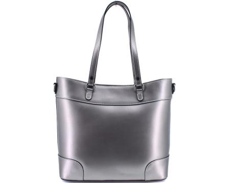 Dámská kožená kabelka Arteddy - tmavě stříbrná