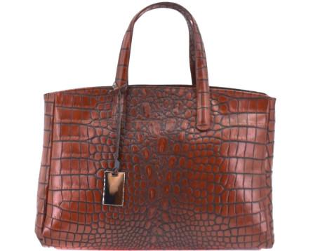 Dámská kožená kabelka croco - hnědá