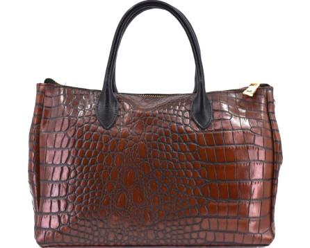 Dámská kožená kabelka croco - hnědá/černá