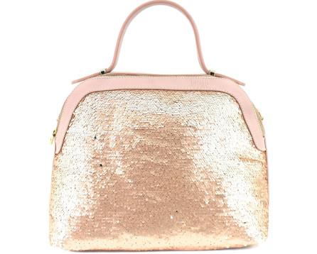 Moderní dámská kožená kabelka Arteddy - růžová/pudrová