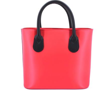 Luxusní dámská kožená kabelka Shopper - červená/černá