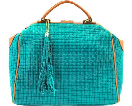 Moderní dámská kožená kabelka - tyrkysová/světle hnědá