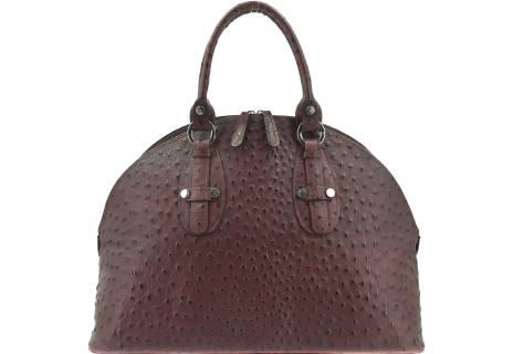 Luxusní dámská kožená kabelka - tmavě hnědá