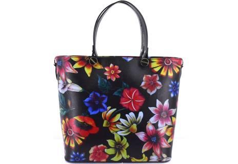 Moderní kožená kabelka s květovaným vzorem Shopper - černá
