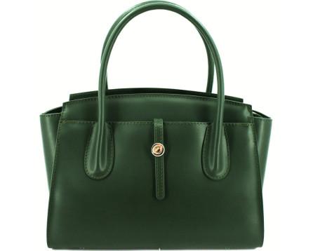 Dámská kožená kabelka Shopper - tmavě zelená