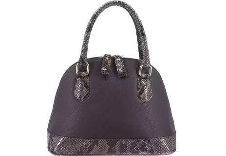 Moderní dámská kožená kabelka Arteddy s hadím vzorem - tmavě hnědá