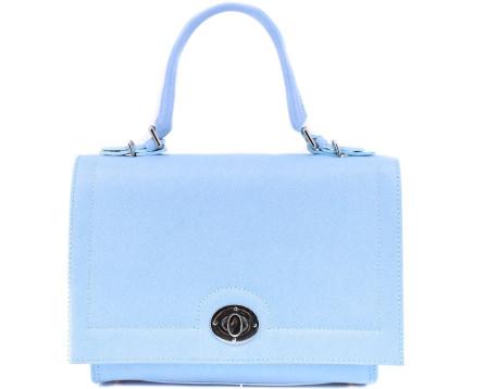 Luxusní dámská kožená kabelka Shopper - světle modrá