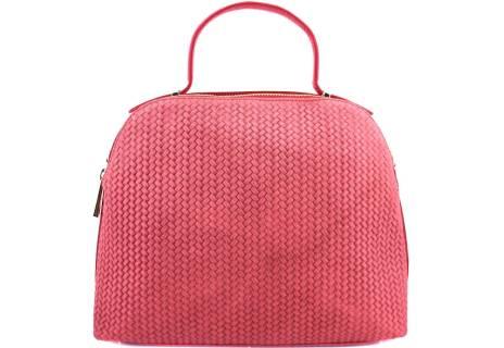 Luxusní dámská kožená kabelka Shopper - světle červená