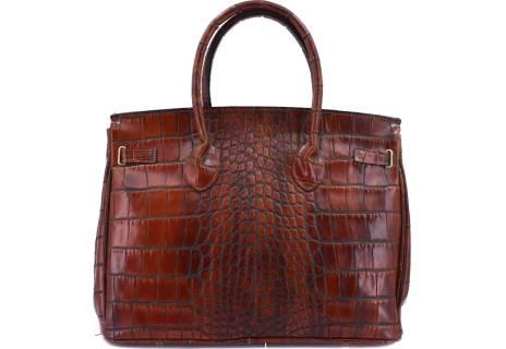 Luxusní dámská kožená kabelka Shopper - hnědá/béžová